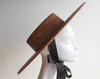 3f6abcf5cb319 The Bentley Hat - Straw Boater Hat w  Oval Crown   Silk Bow - Royal Ascot  Hat - Hat for Races
