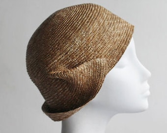 The Apollo Helmet Cloche - Sculpted Art Hat - Unique Straw Millinery