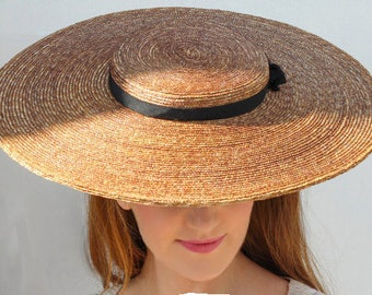 The Chenuit Hat - Grande Boater Hat w/ Wide Brim Hat For Races - Ladies Day - Royal Ascot Hat - Weddings