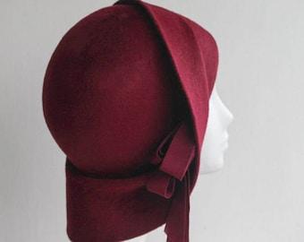 The Anais Hat - 1920s Felt Hat - Red Cloche - Formal Hat - Womens Luxury Designer Milliner