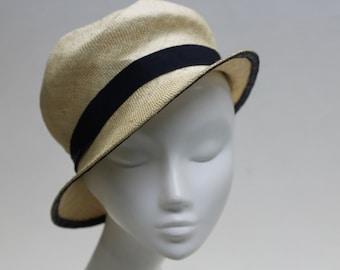 The Carmen Hat - 1920's Ivory Hat - Cloche w/ Navy Petersham Ribbon Detail - Summer Millinery