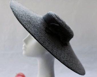 The Paris Pancake  - Wide Brim Straw Boater Hat w/ Black Petersham Ribbon Bow Trim - Wedding Hat & Races Hat