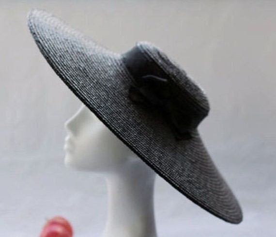 The Paris Pancake Wide Brim Straw Boater Hat w  Black  90ff084a10d