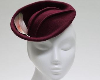 Kiru Burgundy Fascinator Hat w/ Pintucks & Feather