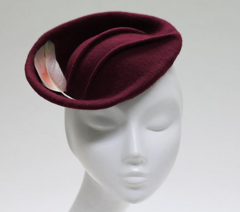 Kiru Burgundy Fascinator Hat w/ Pintucks & Feather image 0