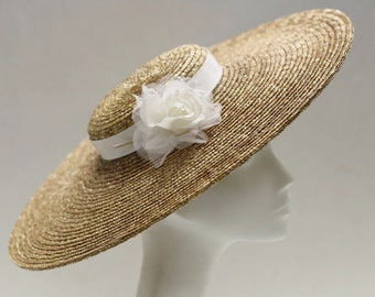The Astrid Wedding Hat - Ivory Silk Rose Wedding Hat - Oatmeal Straw Fascinator Hat for Mother Of The Bride - Formal Hat - Church Hat