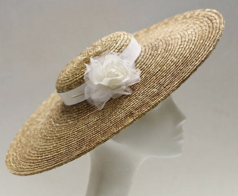 ASTRID  Ivory Silk Rose Fascinator Hat w/ Wide Brim  Wedding image 0