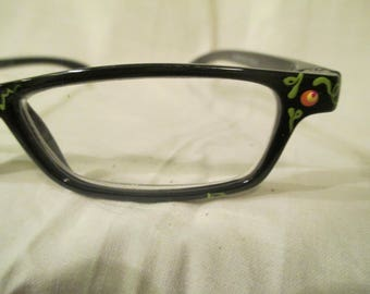 Hand painted reading glasses, flower painted readers, +1.75, orange and yellow floral painted reading glasses, hand painted eyewear,
