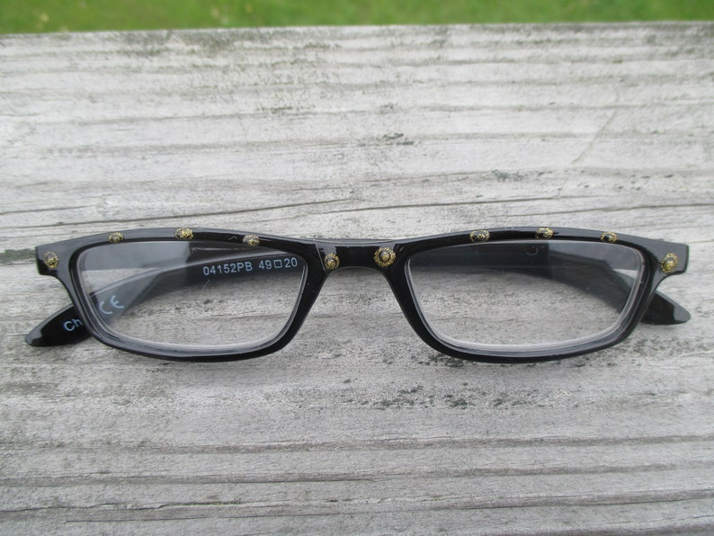 Reading glasses hand painted Black /& Gold Pizzaz +1.25 bling readers glitter stylish readers