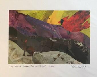 "Cardinal Rabbit Fine Art Collage Print 8.5""x11"""