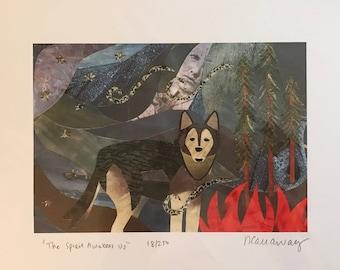 """Wolf Fine Art Collage Print 8.5""""x11"""""""