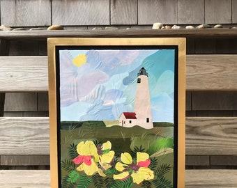 "Original Fine Art Framed Collage Nantucket Lighthouse Great Point Flower Goat's Rue 12.5x15.5"""