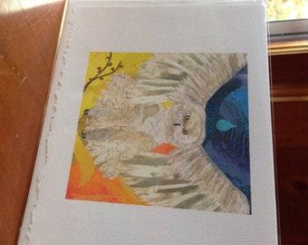 "Owl Snowy Fine Art Card Collage Print 5""x7"""