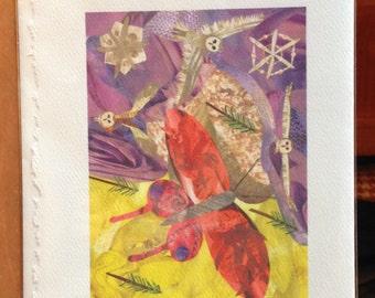 "Owl Moth Fine Art Card Collage Print 5""x7"""