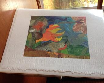 """Woodpecker Scallop Fine Art Card Collage Print 5""""x7"""""""