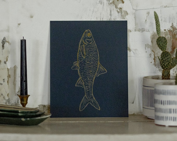 Navy Blue and Yellow Fish Illustration Matted Print
