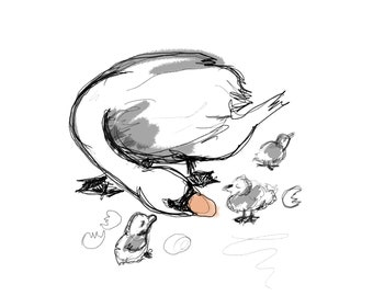 Digital Watercolor Swan and Cygnets Print