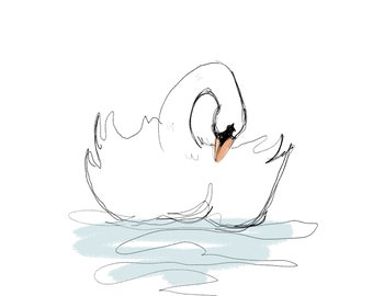 Digital Watercolor Swan Print