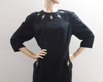 Howard Wolf Dress Black Linen, lined, Size L/XL 12-14, vintage 80's, gold-tone metal studs, pockets, Summer, evening
