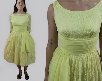 e5ffb38dc20c vintage 1950s yellow lace chiffon prom dress sleeveless formal fit and  flare party dress with bolero 50s Small
