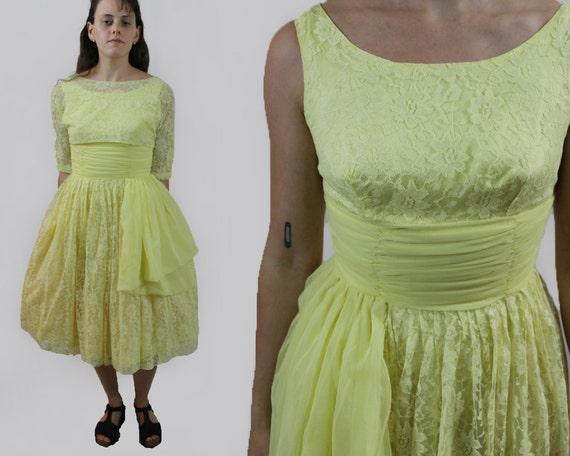 vintage 1950s yellow lace chiffon prom dress sleev