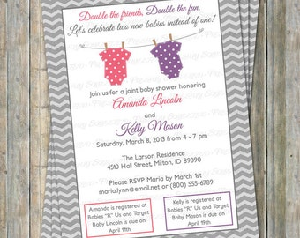 Joint shower invite etsy joint baby shower invitation polka dot onesies two girls watermelon pink and purple digital printable file filmwisefo