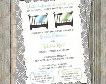 Joint baby shower etsy joint baby shower invitation double shower crib and blanket two boys light blue and green digital printable file filmwisefo