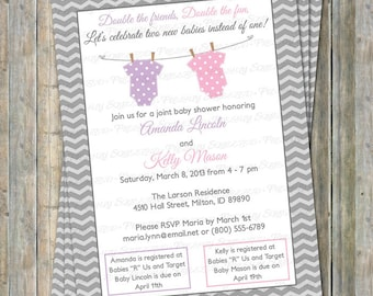 Joint baby shower etsy joint baby shower invitation polka dot onesies two girls pastel purple and pink digital printable file filmwisefo