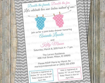 Joint baby shower etsy joint baby shower invitation polka dot onesies boygirl light blue and pink digital printable file filmwisefo