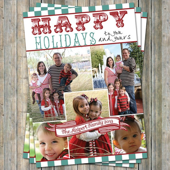 happy holidays card holiday photo collage card digital