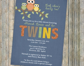 Twins owl baby shower invitations,  twin baby  shower invitation with owls, Digital, Printable file
