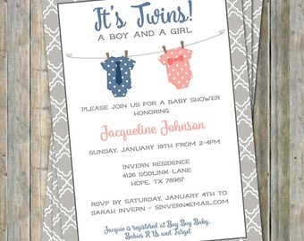 Boy/Girl Twin Onesie Baby shower Invitation, coral and navy Digital, Printable file