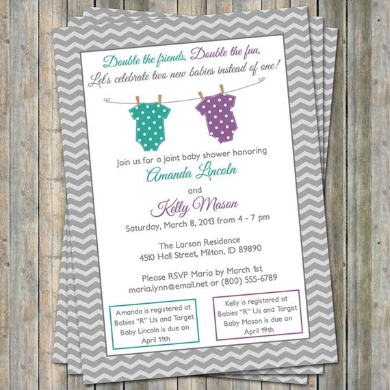 Joint Baby Shower Invitation Polka Dot Onesies Purple And Etsy