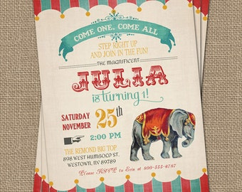 Vintage Circus Birthday Invitation, Circus Party, Digital Printable File