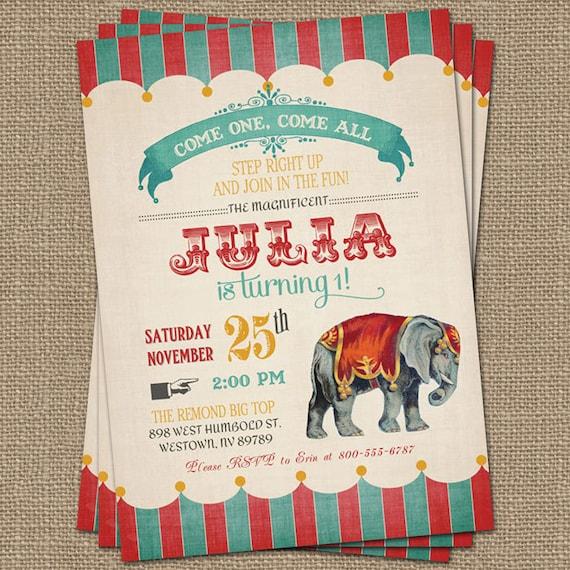 Vintage Circus Birthday Invitation Party Digital