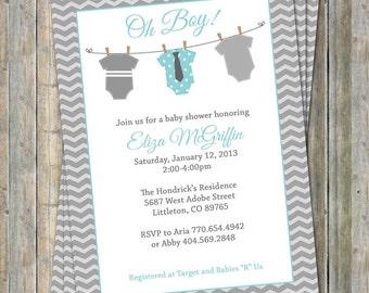Onesie Baby shower Invitation, oh baby shower, aqua and gray, Digital, Printable file