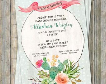 Cactus Baby shower Invitation, watercolor, Digital, Printable file