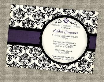 modern, wedding or bridal shower invitations, digital, printable file
