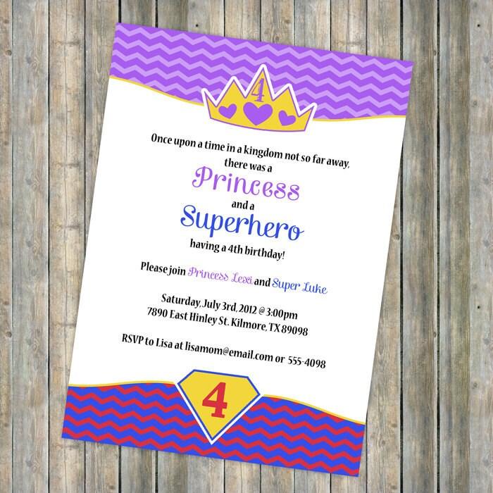 princess and superhero birthday invitation boy girl party