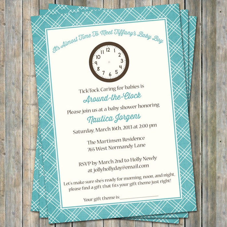 Around The Clock Baby Shower Invitations It S Time To Etsy