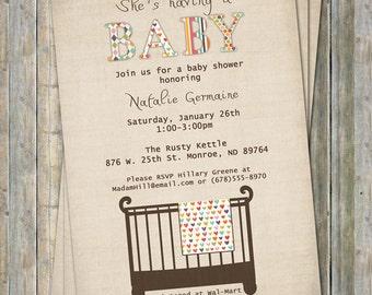 Crib baby shower invite, Modern, Crib or Strollers, digital, printable file