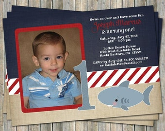 Shark birthday invitation with picture, printable, digital file