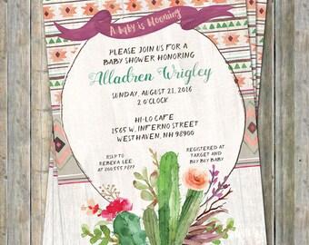 Tribal Cactus Baby shower Invitation, watercolor, Digital, Printable file