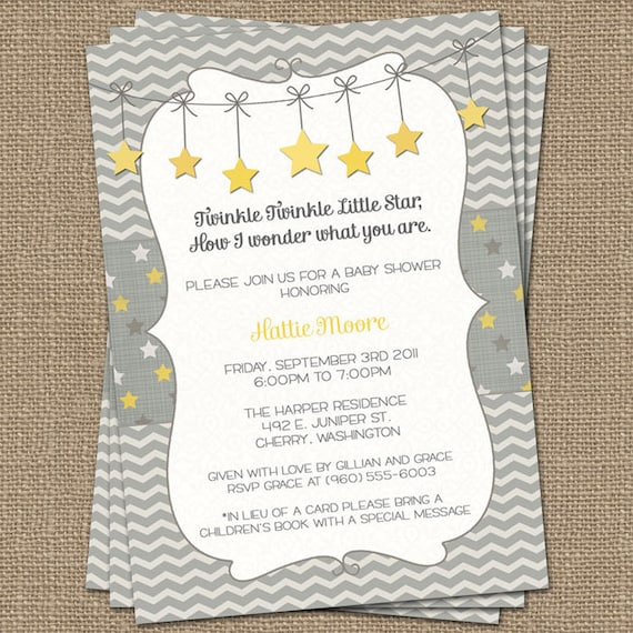 twinkle twinkle little star baby shower invite yellow and etsy