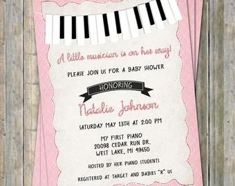 Piano Baby Shower Invitation, Black,white, pink, Little musician