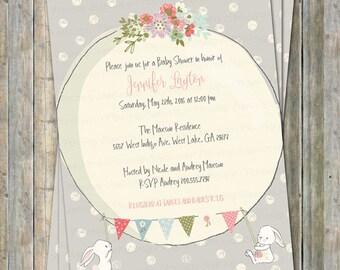 Bunny baby shower invitation, digital, printable file