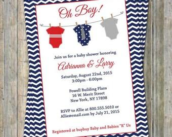 Onesie baby shower invitation, oh boy, shower, red, white blue, digital, printable file
