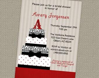 cake,  wedding or bridal shower invitations, digital, printable jpeg