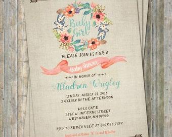 Floral Tribal Baby shower Invitation, watercolor, Digital, Printable file