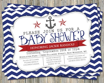 Nautical baby shower invitation, anchor, red white & blue, digital, printable file